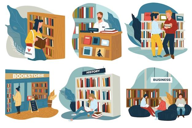 Bücherwürmer, die eine öffentliche bibliothek oder einen buchladen besuchen, um bücher zum lesen zu kaufen