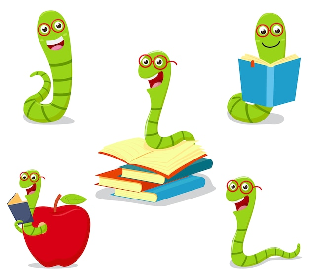 Bücherwurm-cartoon-sammlungssatz