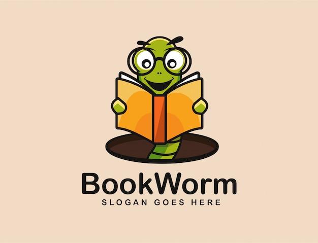 Bücherwurm logo maskottchen