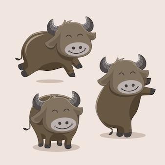 Büffel-cartoon-niedliche tiere