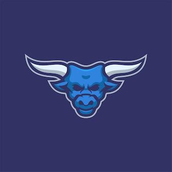 Büffeltierkopfkarikatur-logoschablonenillustration esport-logospiel-premiumvektor