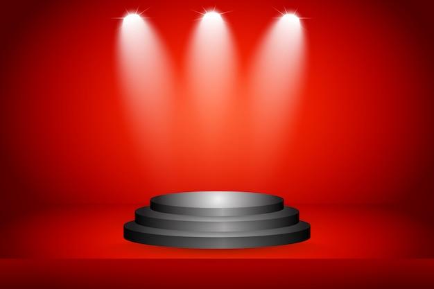 Bühne auf rotem hintergrund