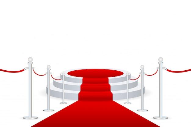 Bühne für die preisverleihung. podium mit rotem teppich.