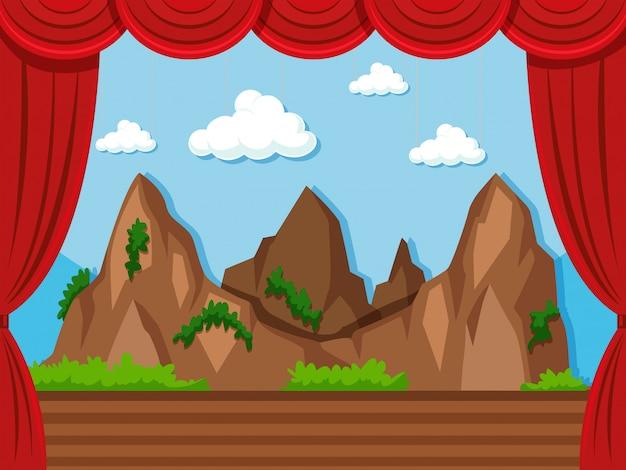 Bühne mit berg und gras