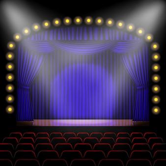 Bühne mit blauem vorhanghintergrund
