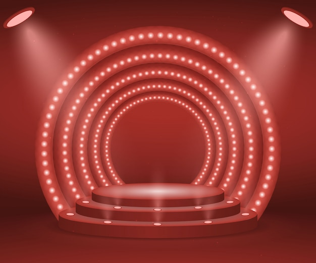 Bühne mit lichtern für die preisverleihung. beleuchtetes rundes podium. sockel.