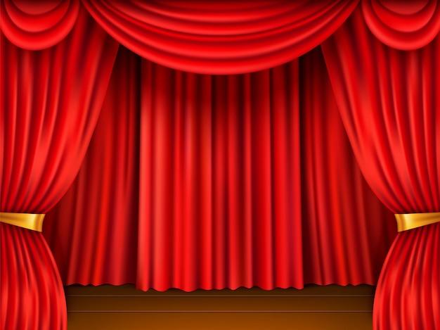 Bühne mit rotem vorhang. realistische szene gerahmte rote textiltheaterschleier, samtstoff, kinosaaldekor, offene schwere vorhänge. vektorhintergrund