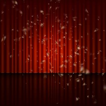 Bühne mit rotem vorhang und streamer-effekt.