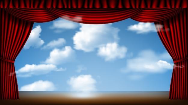 Bühne mit rotem vorhang und wolkenlandschaftshintergrund