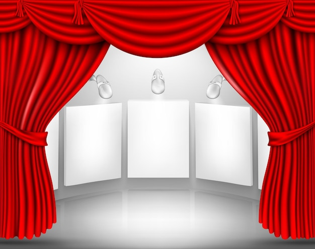 Bühne mit roten seidenvorhängen.