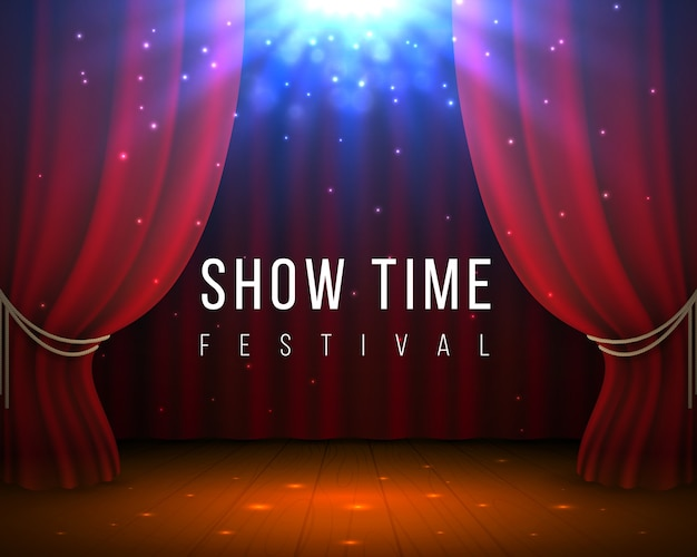 Bühne mit roten vorhängen. geschlossener kino- und opernhintergrund mit rotem vorhang und scheinwerfer.