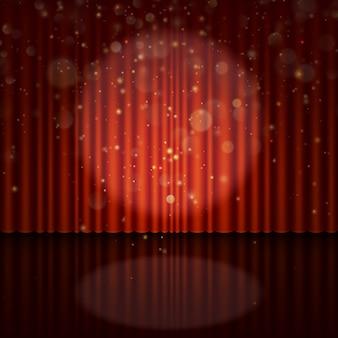 Bühne mit scheinwerfer- und bokeh-effekt.