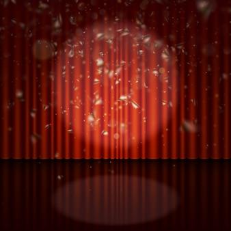 Bühne mit spotlight- und streamer-effekt.