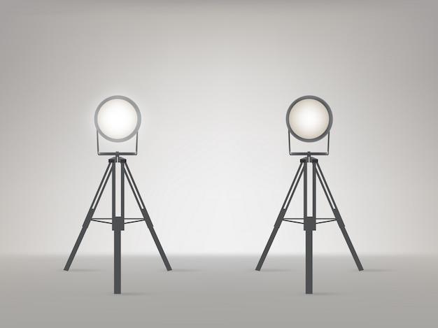 Bühne oder studio strahler realistische vektor