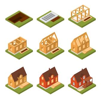 Bühnenbau haus set isometrische ansicht konzept immobilien vom fundament bis zur fassade. vektor-illustration