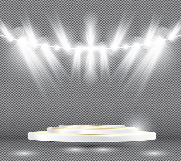 Bühnenbeleuchtungseffekte mit scheinwerfern und goldenem weißem podium. vektor-illustration.