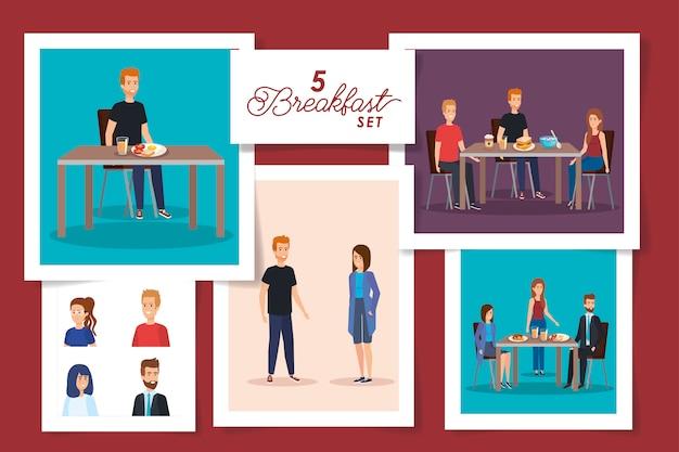 Bühnenbild von menschen beim frühstück