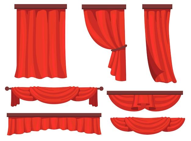 Bühnene rote vorhänge flach eingestellt für webdesign. cartoon stoff vorhänge in film oder oper vektor-illustration sammlung. fenstervorhang und dekorationskonzept