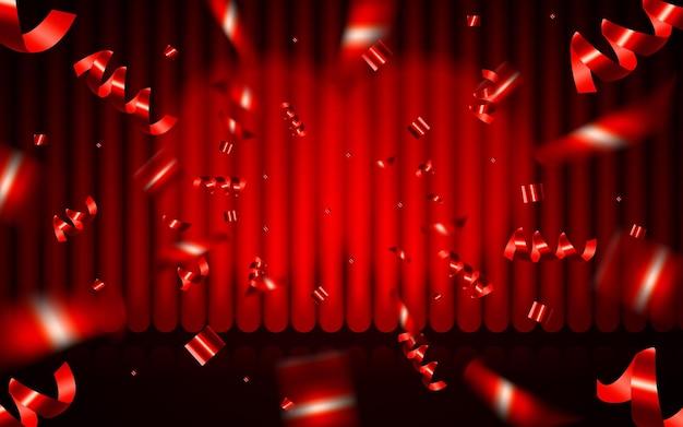 Bühnenhintergrund mit geschlossenem roten vorhang