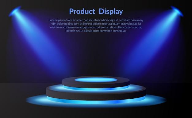 Bühnenpodest für ausstellungsprodukte mit neonlampe und scheinwerfer und dunklem hintergrund