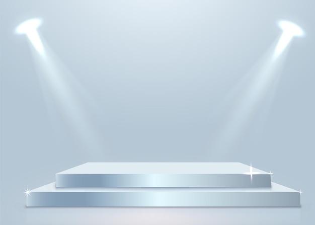 Bühnenpodest mit beleuchtung, bühnenpodest mit für die preisverleihung auf weißem hintergrund. vektorillustration