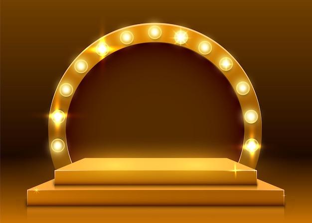 Bühnenpodest mit beleuchtung, bühnenpodest mit preisverleihung auf gelbem hintergrund. vektorillustration