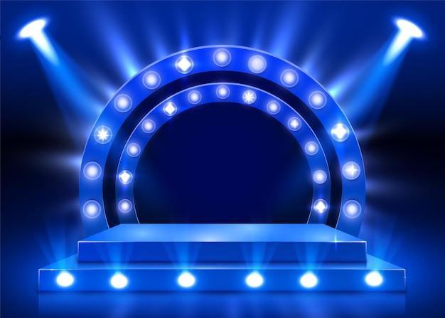 Bühnenpodest mit beleuchtung, bühnenpodest-szene mit für preisverleihung auf blauem hintergrund. vektorillustration