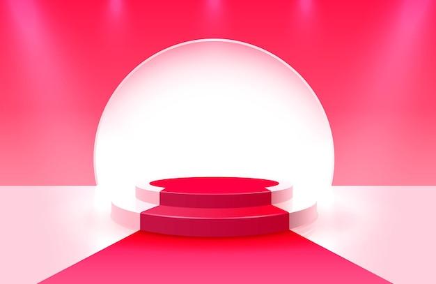 Bühnenpodest mit beleuchtung, bühnenpodium szene mit zur preisverleihung auf rotem hintergrund