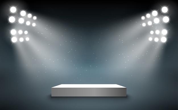 Bühnenpodest mit leichtem präsentationssockel. preisbeleuchtetes show-spotlight-bühnenbild