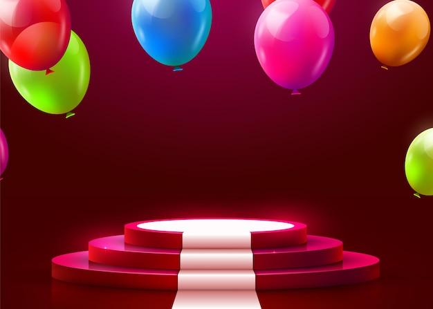 Bühnenpodest-szene für die preisverleihung mit scheinwerfer, teppich und fliegenden luftballons beleuchtet. preisverleihungskonzept. bühnenhintergrund. vektorillustration