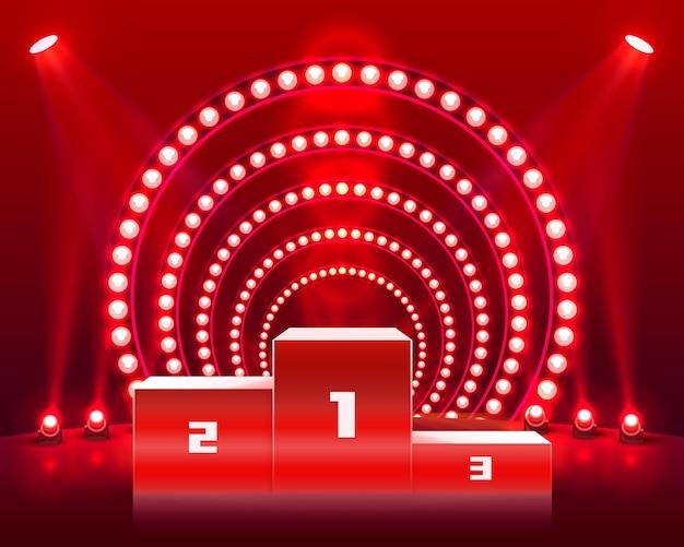 Bühnenpodium mit beleuchtung, bühnenpodiumszene mit für die preisverleihung auf rotem hintergrund, vektorillustration