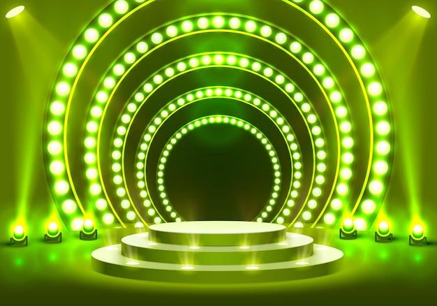 Bühnenpodium mit beleuchtung, bühnenpodiumszene mit für preisverleihung auf grünem hintergrund, vektorillustration