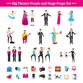 Bühnenrequisiten mit schauspielern, tänzern und musikern