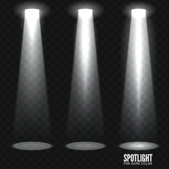 Bühnenscheinwerfer auf dunklem transparentem hintergrund