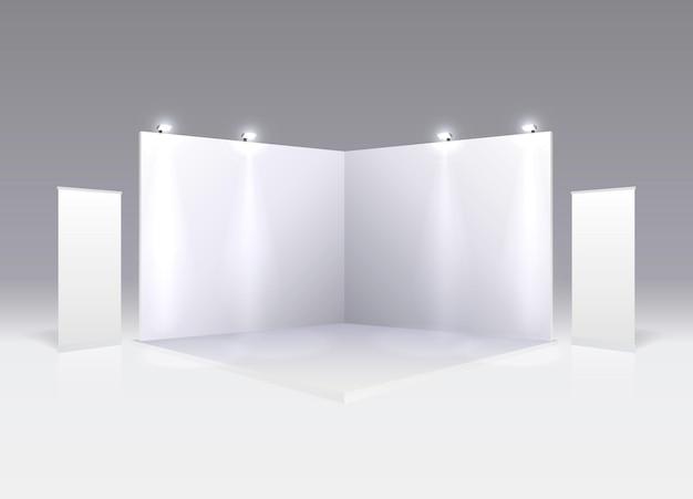 Bühnenshow podium für präsentationen auf grauem hintergrund. vektor-illustration