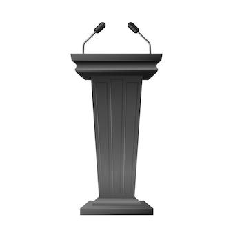 Bühnenstand oder podiumsdiskussion podium mit mikrofonen auf weißem hintergrund. business-präsentation oder konferenz-rede tribüne 3d realistisch. vektor-illustration