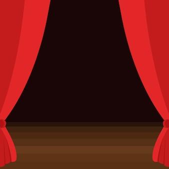 Bühnenvorhänge mit braunem holzboden