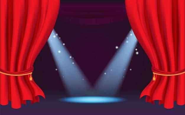 Bühnenvorhang für vorlage mit spotlight show time mit klassischem rotem vorhang