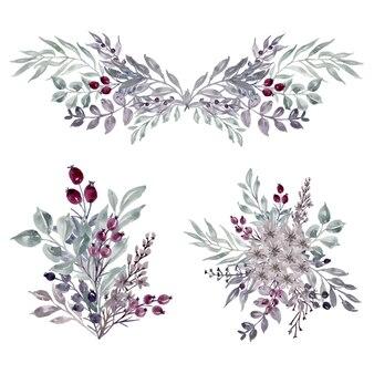 Bündel blumengesteck winterblatt aquarell