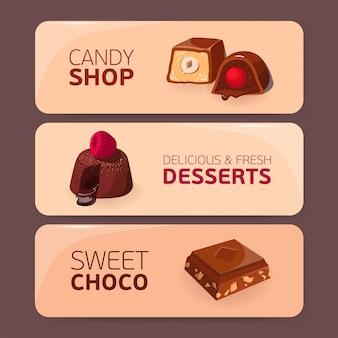 Bündel bunter horizontaler banner mit köstlichen desserts oder leckeren süßen mahlzeiten - süßigkeiten mit verschiedenen füllungen, fondant, schokolade.