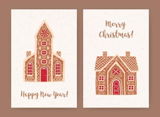 Bündel dekorativer weihnachts- und neujahrsgrußkarten- oder postkartenvorlagen mit süßen leckeren lebkuchenhäusern und feiertagswünschen