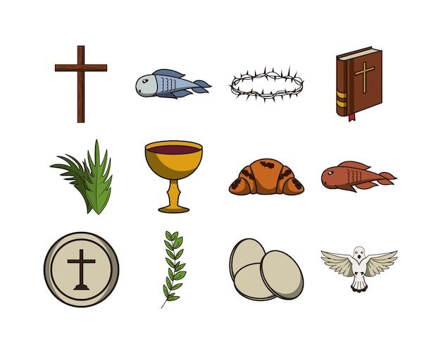 Bündel der erstkommunion stellen icons