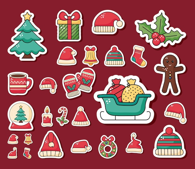 Bündel der glücklichen frohen weihnachtssetikonenillustrationsentwurf