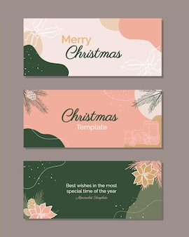 Bündel eleganter banner modern frohe weihnachten trendy holiday design für social media post