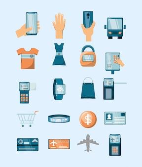 Bündel elektronischer geschäftsverkehr mit den ikonen eingestellt