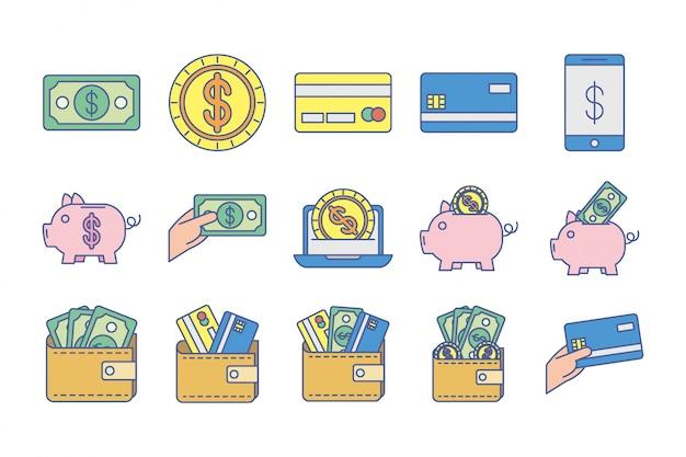 Bündel geldwechselikonen