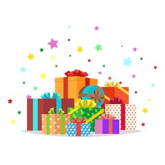 Bündel geschenk-illustration. feiertags-sammlung
