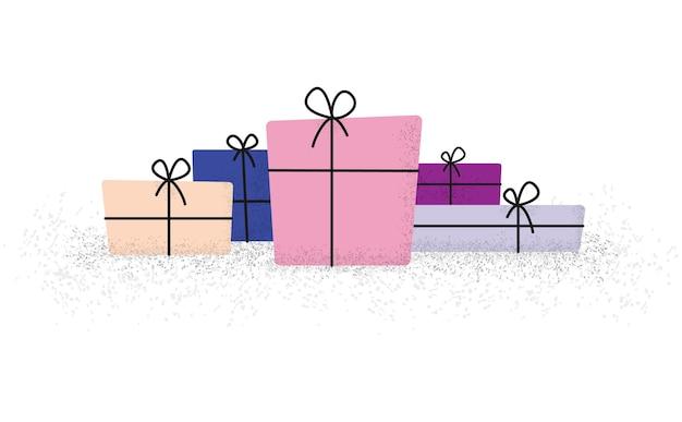 Bündel geschenkboxen mit band und schleife in der wohnung mit modernen gepunkteten punkten bürsten schattenart, illustration
