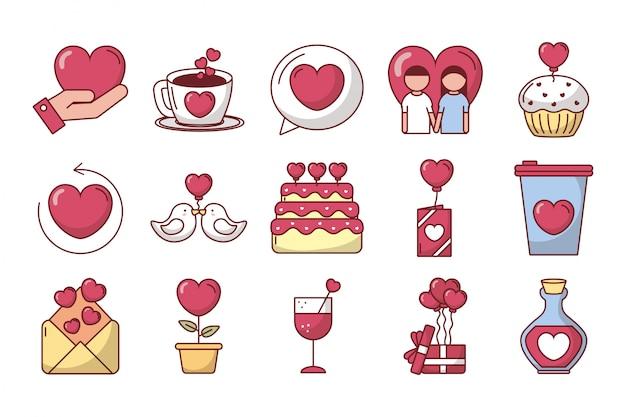 Bündel gesetzte ikonen des valentinstags