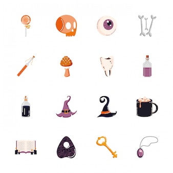 Bündel gesetzte ikonen halloweens Kostenlosen Vektoren